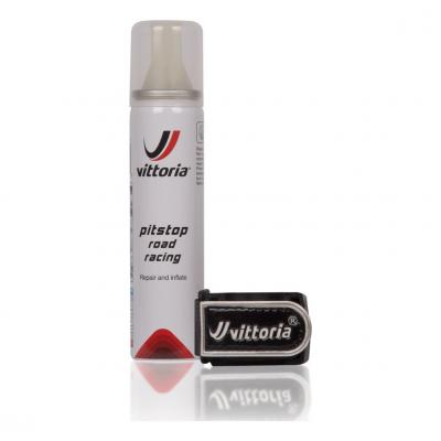 Bombe anti-crevaison Vittoria Pit Stop Road Racing 75 mL + support