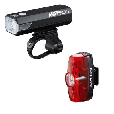 Éclairage vélo avant et arrière Cateye AMPP 500 et Rapid Mini Noir