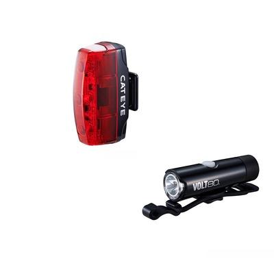 Éclairage vélo avant et arrière Cateye Volt 80 XC et Rapid Mini Noir