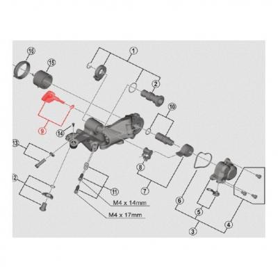 Levier de dérailleur Shadow + Shimano XTR RD-M9100
