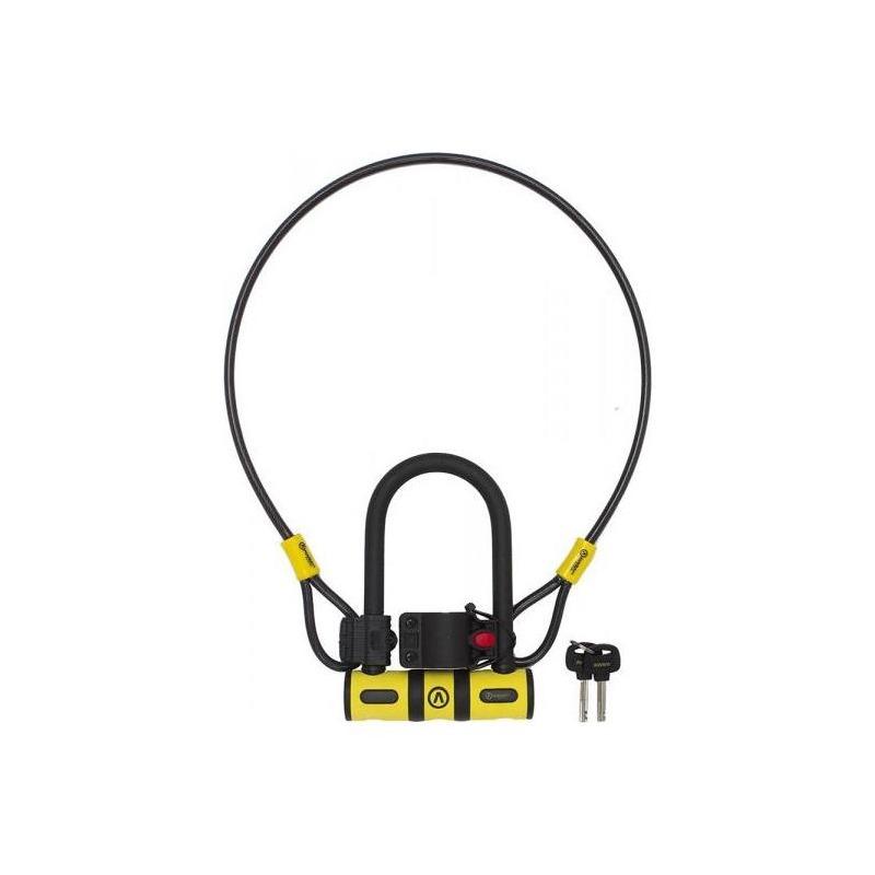 Antivol Auvray U Bike 82x147 mm + Câble D8x100 mm + Support Noir/Jaune