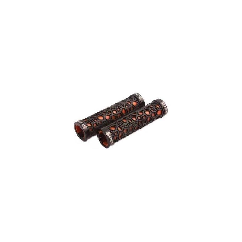 Poignées Clarks Lock-On 130 mm Noir/Rouge (La paire)