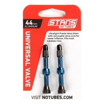 Paire de valves tubeless Stan's NoTubes Aluminium Presta 44 mm Bleu