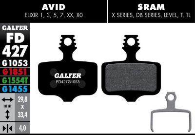 Plaquettes de frein Galfer Avid/SRAM Elixir Semi-métallique Advanced Rouge
