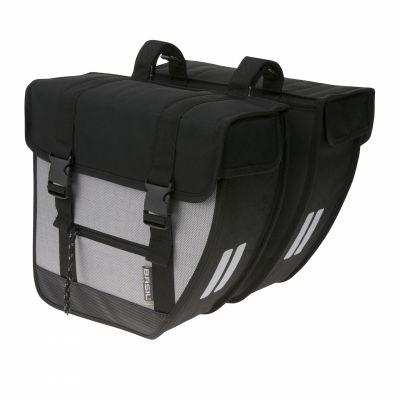 Sacoche arrière double BASIL Tour XL 40 L X Fix. crochet-ressort Noir/Argent