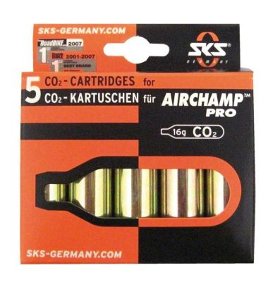 Cartouche CO2 SKS Air Champ Pro Sans filetage 16 g (Lot de 5)