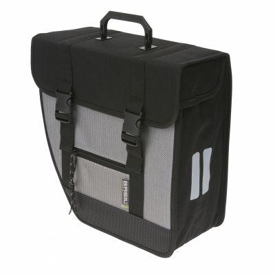 Sacoche arrière latérale BASIL Tour gauche Fix. crochet plastique 17 L Noir/Argent