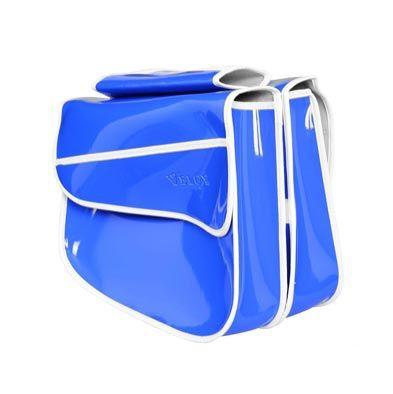 Sacoche vélo VELOX porte-bagages À pont 2 volumes Bleu Vernis