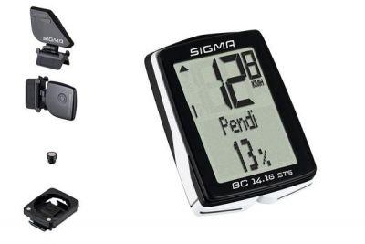Compteur sans fil Sigma BC 14.16 STS Altimètre + Cadence Blanc/Noir