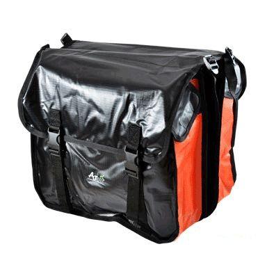 Sacoche vélo Optimiz porte-bagages À pont 2 volumes Noir/Rouge
