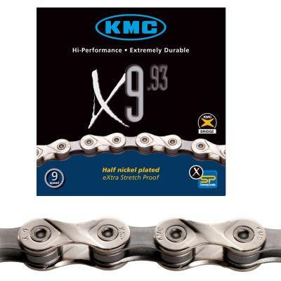 Chaine vélo KMC 9 vitesses X9.93 Argent 116 maillons