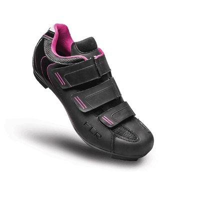 Chaussures Route femme FLR Pro F-35 3 Bandes auto agrippantes Noir/Rose