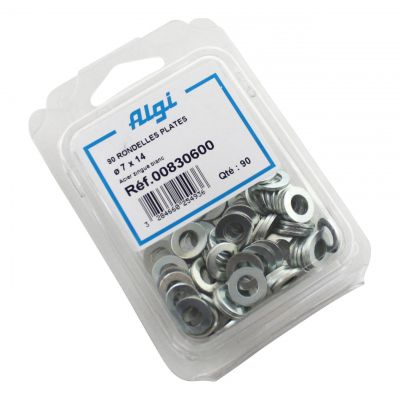 Rondelles plates en acier Algi 7x14mm (Lot de 90)