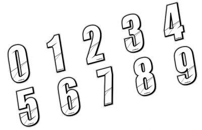 Sticker Maikun Numéro de plaque Blanc 8 cm Numéro 6