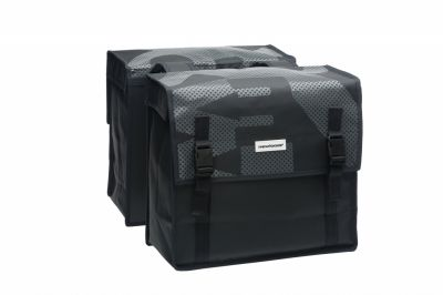 Sacoche double New Looxs Bisonyl À pont sur porte-bagages 46 L Noir/Gris