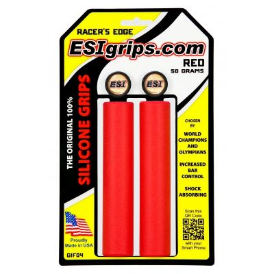 Poignées ESI Grips Racer's Edge silicone 30 mm Rouge