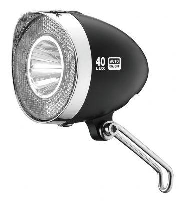 Éclairage avant XLC LED Retro 40 LUX CL-D04 Dynamo Interrupteur + Feu position Noir