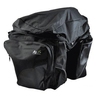Sacoche vélo ATOO porte-bagages À pont 3 volumes 50 L Noir