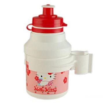 Bidon enfant Hello Kitty Plastique Blanc 300 ml Avec porte-bidon