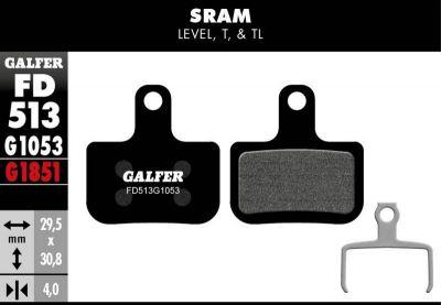 Plaquettes de frein Galfer SRAM Level Semi-métallique Standard Noir