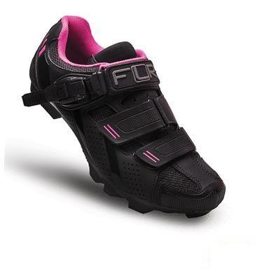 Chaussures VTT femme FLR Elite F-65 Clic + 2 Bandes auto agrippantes Noir/Rose