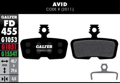 Plaquettes de frein Galfer Avid Code R 2011 Semi-métallique Pro Vert