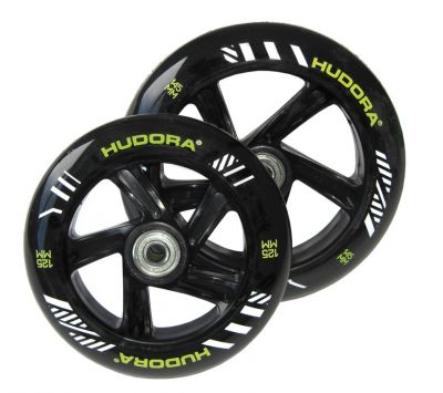 Roue trottinette Hudora Big Wheel 145 mm/ 125 mm Noir/Vert (paire)