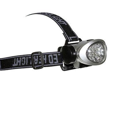 Éclairage frontal LED Fixation tête ou casque À piles Gris