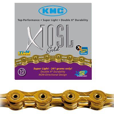 Chaîne vélo KMC 10 vitesses X10SL or 112 maillons