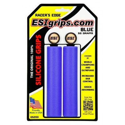 Poignées ESI Grips Racer's Edge silicone 30 mm Bleu