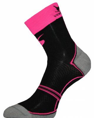 Chaussettes Ventura Socks Carbone Classic Noir/Rose fluo