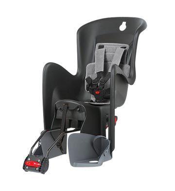 Porte-bébé arrière Polisport Bilby Maxi RS sur cadre Inclinable Noir/Gris