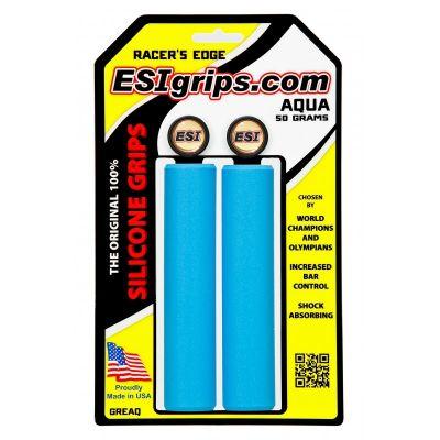 Poignées ESI Grips Racer's Edge silicone 30 mm Bleu Aqua