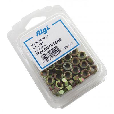 Écrous Algi 6 pans D. 7mm (Lot de 50)