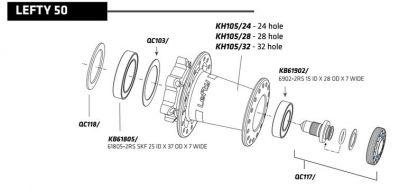Roulement ext. Cannondale moyeu Lefty 50 et 60 KB61902/