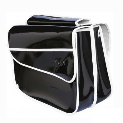 Sacoche vélo VELOX porte-bagages À pont 2 volumes Noir Vernis