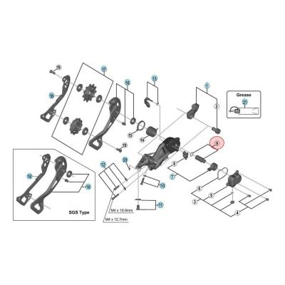 Axe et Joint pour dérailleur Shimano XTR M9000 RD-M9000