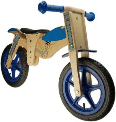 Draisienne en bois 12'' Moto Marron/Bleu