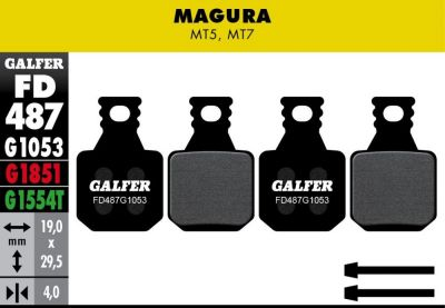 Plaquettes de frein Galfer Magura MT5 MT7 Semi-métallique Standard (x4)