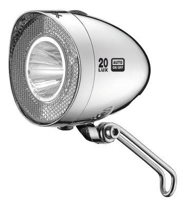 Éclairage avant XLC LED Retro 20 LUX CL-D03 Dynamo Interrupteur + Feu position Chrome