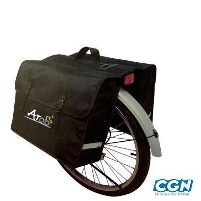 Sacoche vélo ATOO porte-bagages À pont 2 volumes 40 L Noir