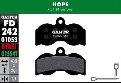 Plaquettes de frein Galfer Hope XC4 4 pistons Semi-métallique Standard Noir