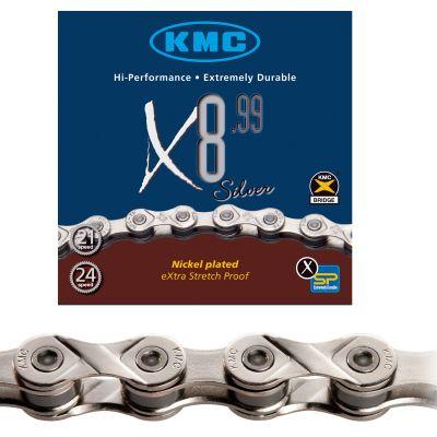 Chaîne vélo KMC 8 vitesses X8.99 116M Argent