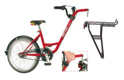"""Vélo suiveur Roland ADD+BIKE 20"""" 3 vitesses + porte-bagages Rouge"""
