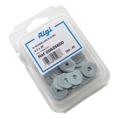 Rondelles plates en acier Algi 5x22mm (Lot de 50)