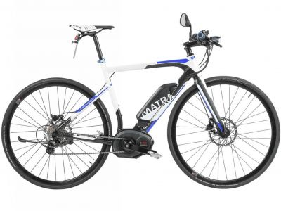 Vélo fitness électrique Matra I-Speed Ride D11S Blanc/Bleu
