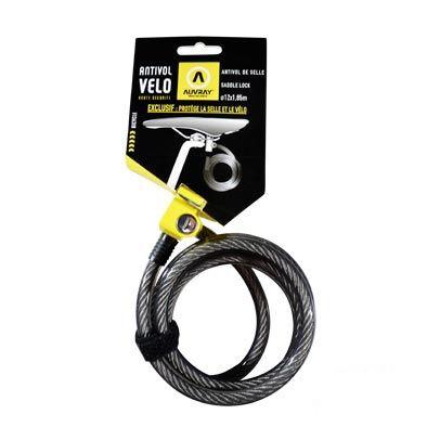 Antivol Auvray S Lock spirale à clé 12 mm x 1,85 m Noir
