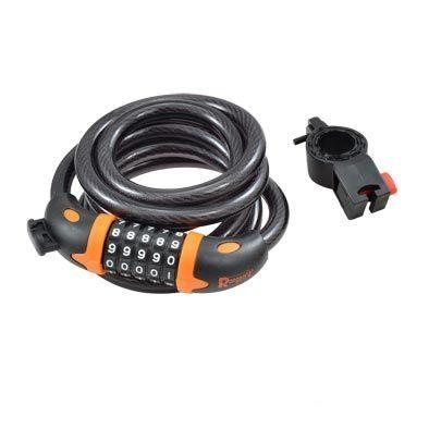 Antivol Rangers à spirale Code D.12 x 1.80 m Noir/Orange (Support inclus)