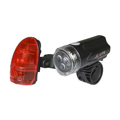 Éclairage vélo AV+AR Q-Lite LED à piles Fix. sur cintre et tige de selle