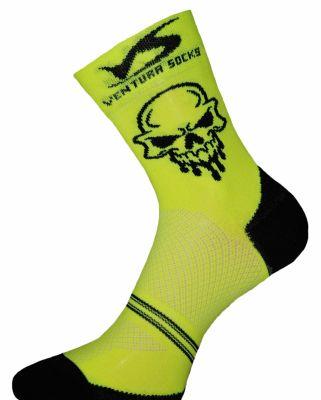 Chaussettes Ventura Socks Carbone Tête de mort Jaune/Noir